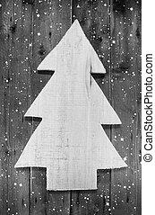 mód, b betű, kopott, havas, fából való, fa, kézi munka, erdő, karácsony