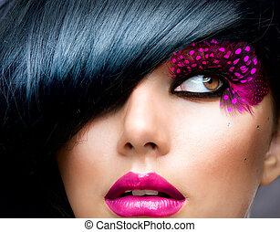 mód, barna nő, formál, portrait., frizura