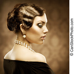 mód, beauty., retro, portrait., klasszikus, romantikus, szüret