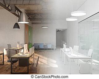 mód, befejezetlen, hivatal, ország, terv, vakolás, coworking, interior., 3