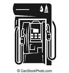 mód, benzin, egyszerű, állomás, áll, ikon