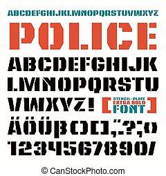 mód, betűtípus, sanserif, stencil-plate, hadi