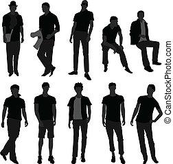 mód, bevásárlás, férfiak, formál, hím, ember