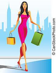 mód, bevásárlás, lány