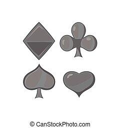 mód, black öltöny, ikon, monochrom, játék kártya
