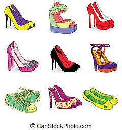 mód, cipők, nő, gyűjtés, szín