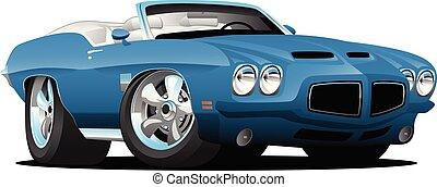 mód, classic autó, hetvenes évek, ábra, amerikai, vektor, átváltható, izom, karikatúra