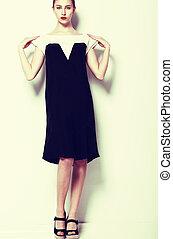 mód, clothes., divatot utánzó, nő, alatt, finom, ruha, -, sorozat, közül, fénykép