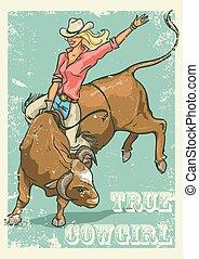 mód, cowgirl, poszter, bika, rodeó, retro, lovaglás