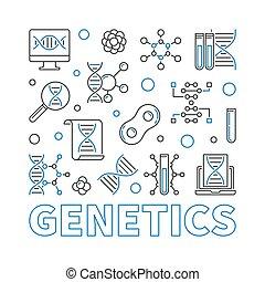 mód, derékszögben, genetika, ábra, vektor, sovány megtölt, minimális