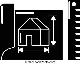 mód, egyszerű, épület, fekete, terv, ikon