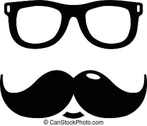 mód, egyszerű, bajszok, ikon, nerd, szemüveg