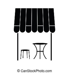 mód, egyszerű, francia, utca, ikon, kávéház