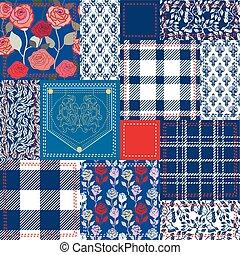 mód, elkészített, kék, patchwork., kollázs, cseh, flaps., white piros, gyapot