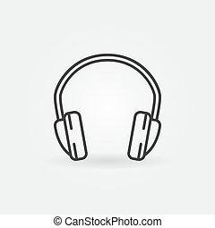 mód, elszigetelt, fejhallgató, vektor, sovány megtölt, minimális, ikon