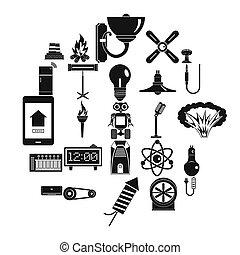 mód, erő, ikonok, állhatatos, nukleáris, egyszerű