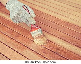 mód, fából való, szüret, festmény, kéz, retro, asztal., ecset