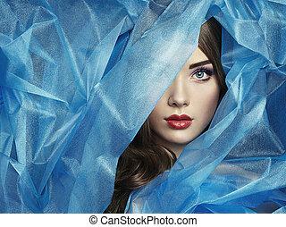 mód, fénykép, közül, gyönyörű women, alatt, kék, függöny
