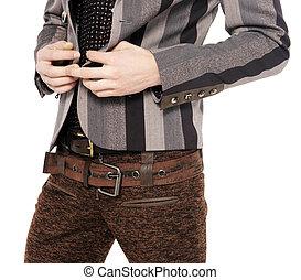 mód, férfiak, nadrág, egy, ing