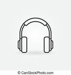 mód, fejhallgató, vektor, sovány megtölt, minimális, ikon