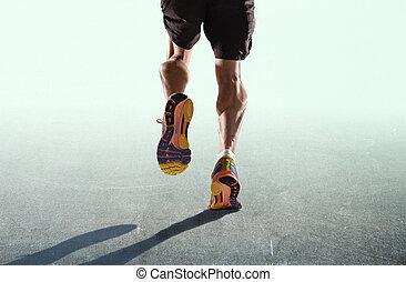mód, fogalom, cipők, atlétikai, combok, kitartás, elszigetelt, futás, egészséges, kocogás, hirdetés, állóképesség, sport, ember