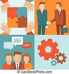mód, fogalom, csapatmunka, vektor, együttműködés, lakás