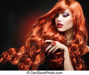 mód, göndör, hosszú szőr, portrait., hair., leány, piros
