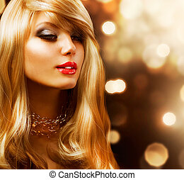mód, girl., hair., háttér, szőke, arany-, szőke