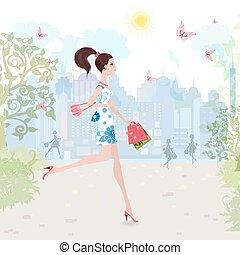 mód, gyalogló, bevásárlás, utca, hölgy