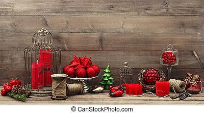 mód, gyertya, retro, dekoráció, karácsony, piros