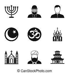 mód, hitek, állhatatos, együgyű icons