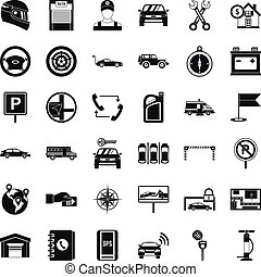 mód, ikonok, állhatatos, autó, egyszerű, szerelő