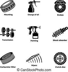 mód, ikonok, állhatatos, autó, munkás, egyszerű