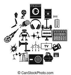 mód, ikonok, állhatatos, nukleáris energia, egyszerű