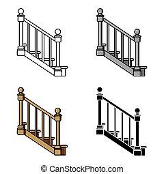 mód, illustration., ikon, jelkép, elszigetelt, háttér., vektor, fehér, faanyag, lépcsősor, karikatúra, fűrésztelep, részvény