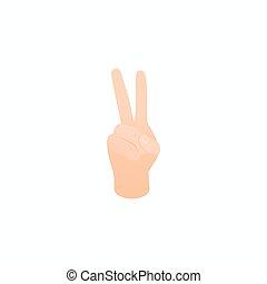 mód, isometric, szám, kiállítás, két, kéz, 3, ikon