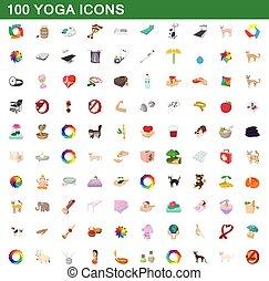 mód, jóga, ikonok, állhatatos, 100, karikatúra