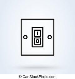 mód, jelkép, icon., kapcsol, vektor, ikon, lineáris, egyenes, karikatúra, web., egyedülálló, elektromos, switch., állandó ábra