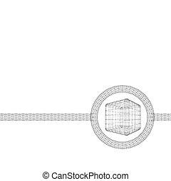 mód, köb, lattice., dots., megvonalaz, polygonal, rács,...