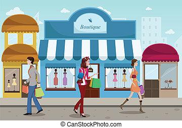 mód, külső, bevásárlás, emberek, butik, francia, fedett ...