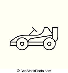 mód, kart, autó dísztér, kapcsolódó, jár, vektor, ikon, egyenes, versenyzés, vagy, szórakozás