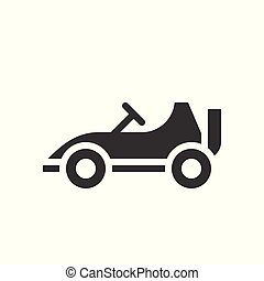 mód, kart, szilárd, autó dísztér, kapcsolódó, jár, vektor, ikon, versenyzés, vagy, szórakozás