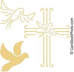 mód, keresztény, bölcsész, kereszt, elszigetelt, fehér galamb, egyenes