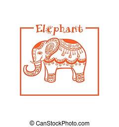 mód, keret, elefánt, vektor, etnikai, narancs, kép