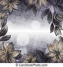 mód, keret, tervezés, retro, sablon, virágos