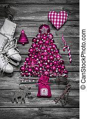 mód, kopott, íme, vagy, szüret, sikk, ország christmas, decoration: