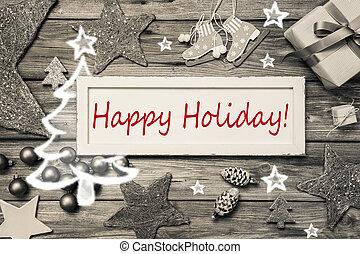 mód, kopott, -, szürke, kártya, sikk, ünnep, karácsony, ...