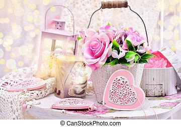 mód, kopott, valentines, dekoráció, esküvő, sikk, vagy, romantikus