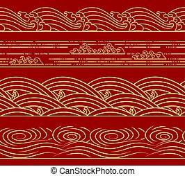 mód, mód, kínai, állhatatos, pattern., japán, seamless, víz óceán, retro, tenger, lenget, horizontális, téma, ázsiai, design.