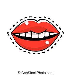 mód, művészet, ábra, ajkak, vektor, váratlanul, női, komikus, piros, retro